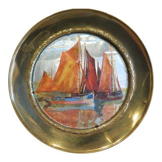 1930s Vintage Chinese Ship Decorative Brass Plate For Sale