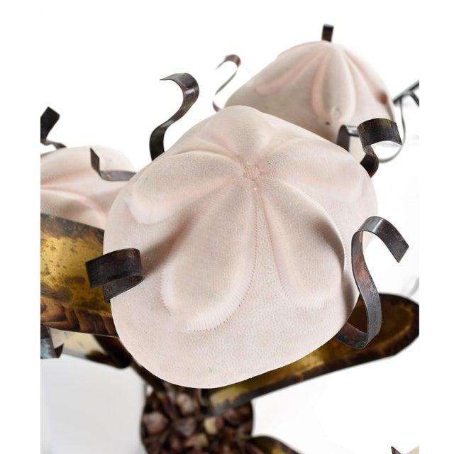 Brutalist Jere Style Brutalist Fantasy Sand Dollar Sea Urchin Sculptural Metal Table Lamp For Sale - Image 3 of 8