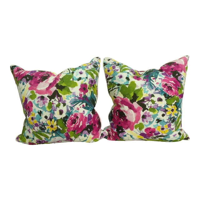 Colorful Floral Pillows - a Pair For Sale