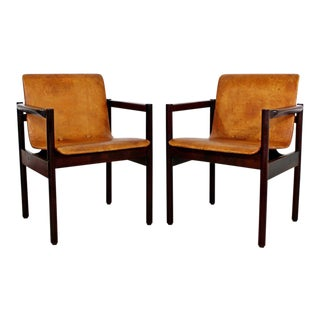 1960's Mid-Century Modern Brazilian Rosewood Chairs Michel Arnoult Style - a Pair For Sale