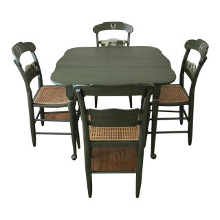 1970s Vintage L. Hitchcock Dining Set - 5 Pieces For Sale