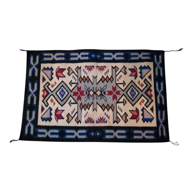 Vintage Navajo Hand Loomed Geometric Rug by Ella John- 2′1″ × 3′2″ For Sale