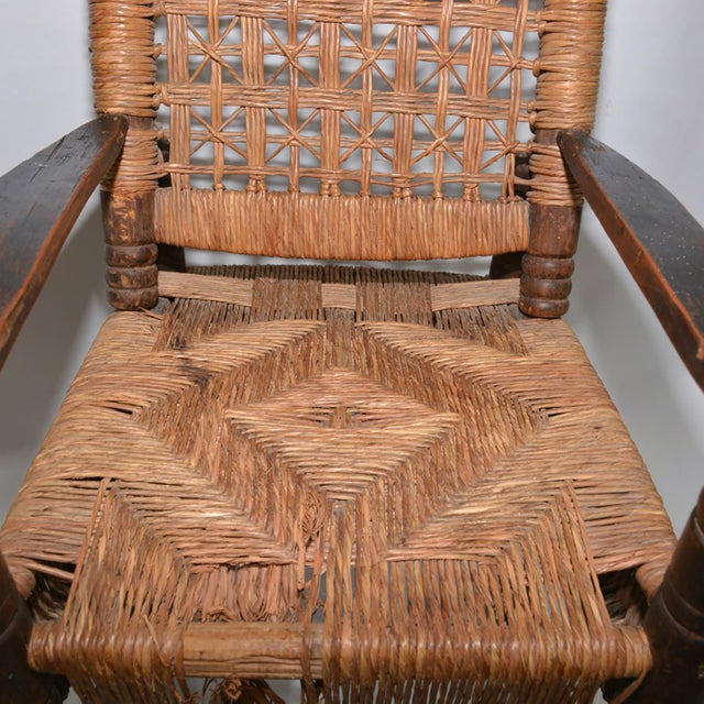 Antique Children's Wood & Wicker Seagrass Armchair Rocker For Sale - Image 11 of 13