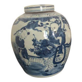 1900s Asian Antique Blue and White Ginger Jar
