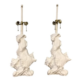 Sirmos Plaster Seashell Lamps - a Pair For Sale