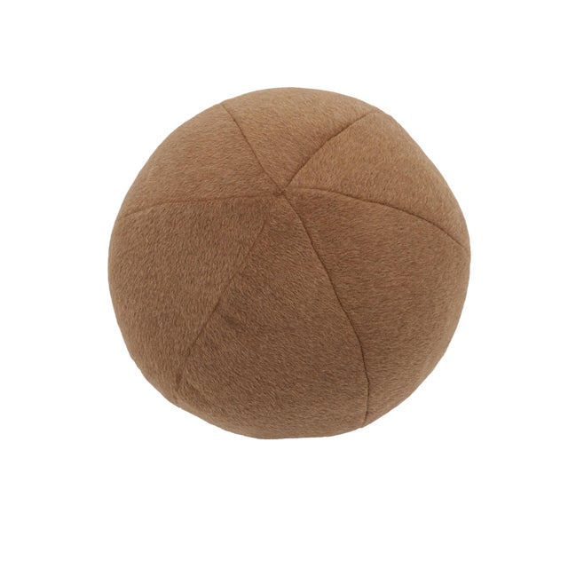 Schumacher Dixon Mohair Weave Sphere Pillow in Vicuna For Sale