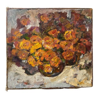 Floral Still Life Oil Painting on Burlap Canvas For Sale