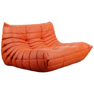 Togo Loveseat in Orange Leather by Michel Ducaroy for Ligne Roset, France For Sale