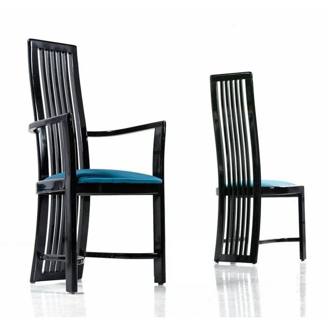 Modern High Back Chairs: Asian Modern Black Lacquer High Back Dining Chairs Made In