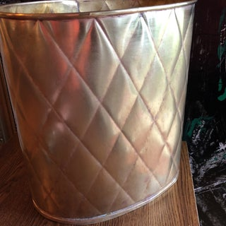 Antique Quilted Brass Wastebasket Preview