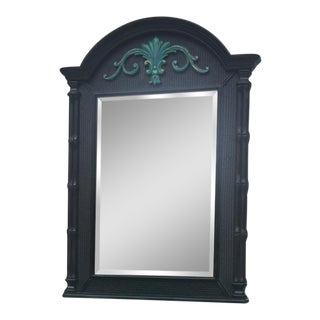 Blue Green Carved Console Mirror For Sale