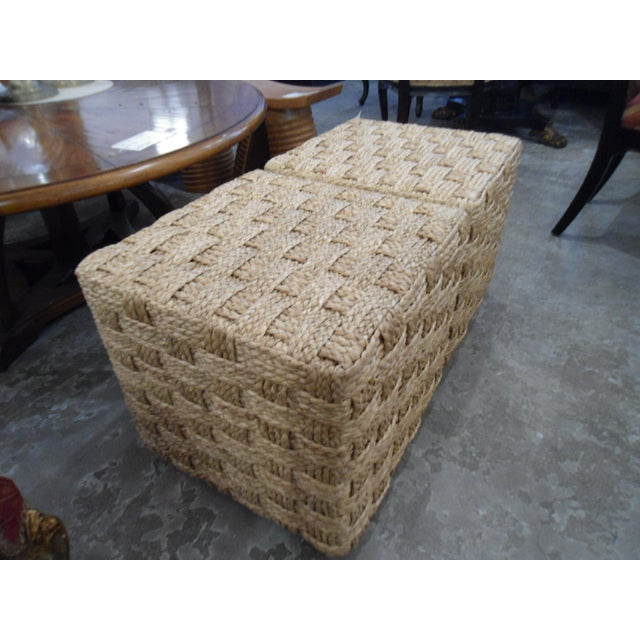 Pair of Palecek Spa Hassock Rattan Weave Ottoman / Side Table - Image 3 of 5