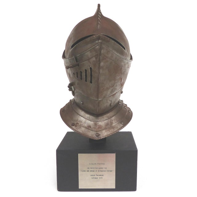 Offered for sale is an antique closed jousting helmet that was presented as a gift from the former CEO and chairman of IBM...