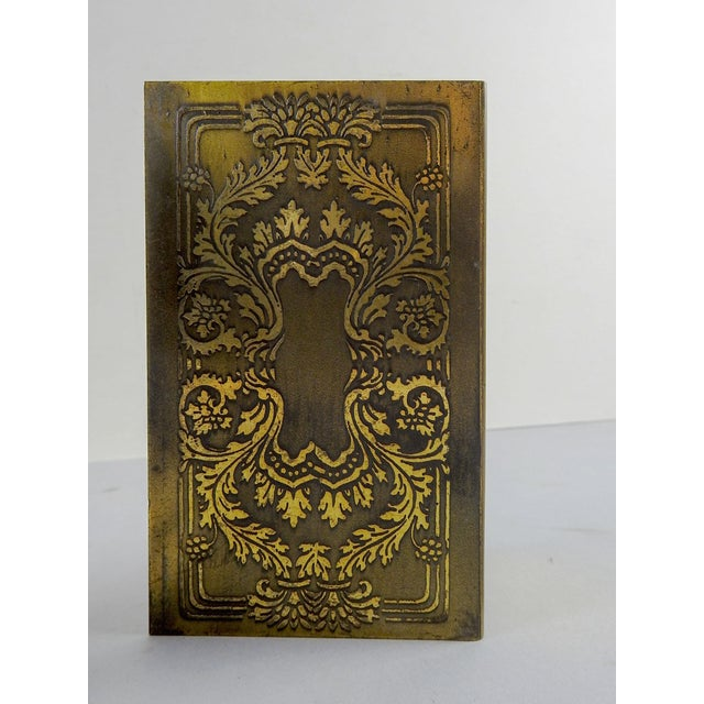 Renaissance Brass Etched Classical Renaissance Design Bookends - A Pair For Sale - Image 3 of 5