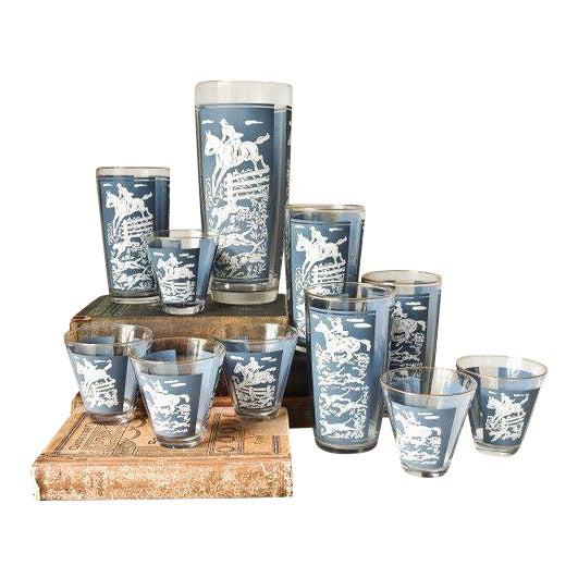 Vintage Cocktail Shaker and Glasses Set - Set of 11 For Sale