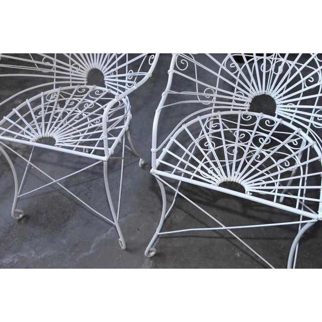 White French Wrought Iron and Wire Garden Patio Set For Sale - Image 8 of 10