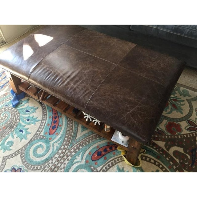 Brown Pottery Barn Caden Leather Upholstered Ottoman For Sale - Image 8 of 9