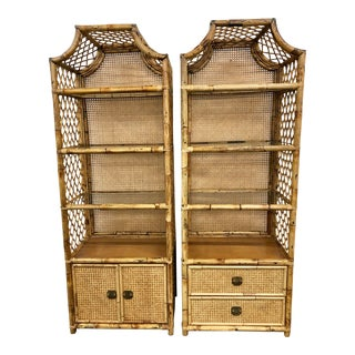 Rattan Bamboo Cane Back Pagoda Etageres-A Pair For Sale