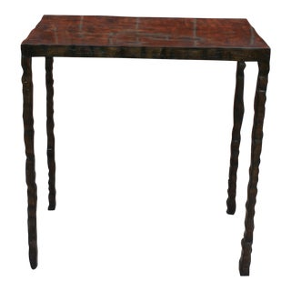 Rustic Butler Specialty Company Carved Wood Side Table For Sale