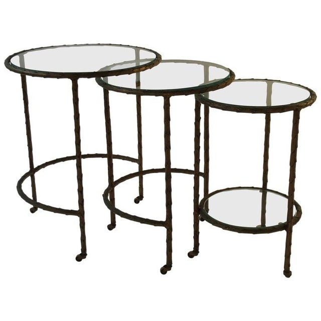 1950s Baguès Bronze Circular Nesting Tables For Sale - Image 13 of 13