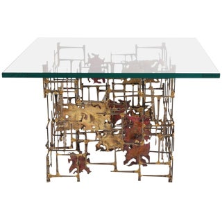 Brutalist Brass Copper and Steel Side Table For Sale