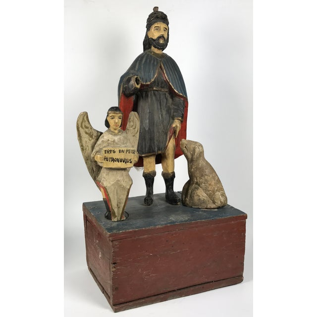 Religious 19th C. Carved Saint Roch Sculpture For Sale - Image 3 of 6