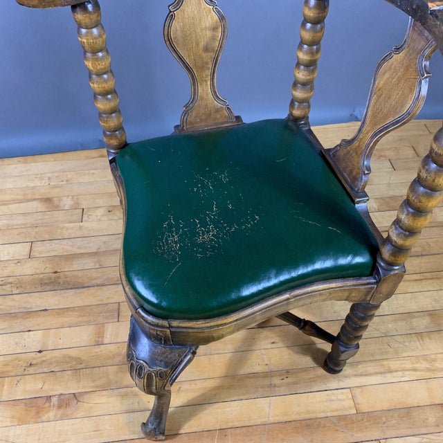 Late 19th Century Continental Corner Chair, Green Leather For Sale - Image 9 of 10