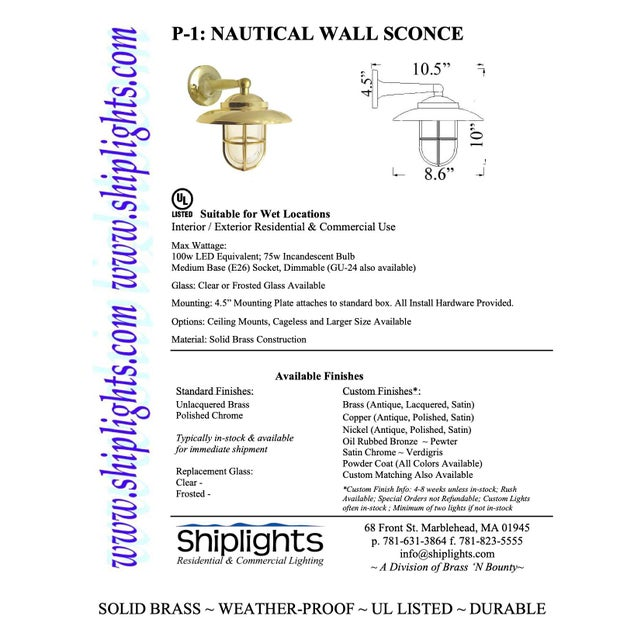 Traditional Non-Corrosive Brass Nautical Wall Sconce For Sale - Image 3 of 4