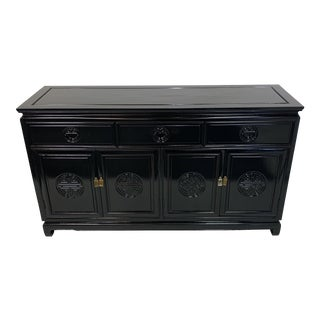 1950's Vintage Black Lacquered Buffet For Sale