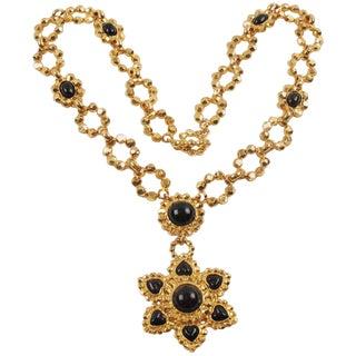 Edouard Rambaud Paris Signed Byzantine Extra Long Necklace Black Cabochon For Sale