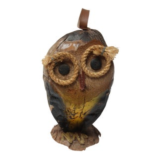 Whimsical Folk Art Coconut Owl Sculpture For Sale