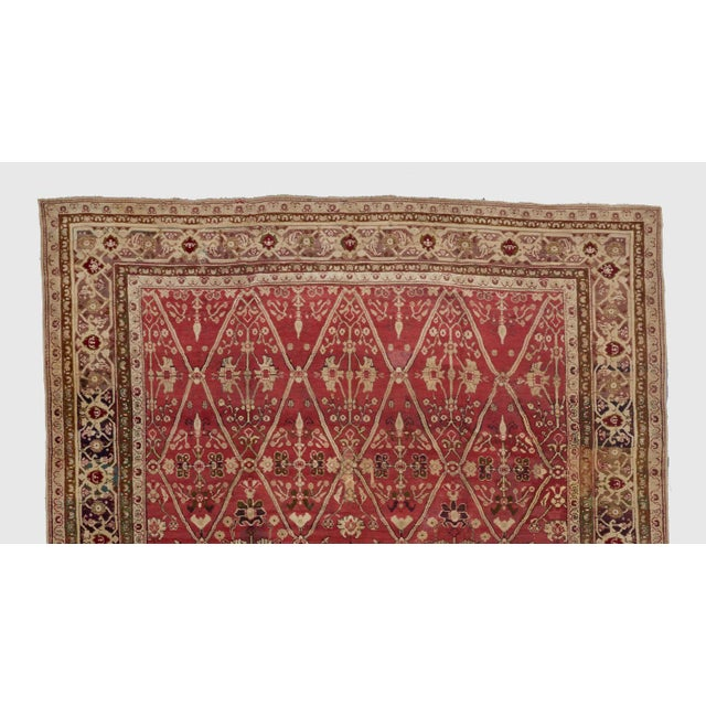 Late 19th Century Late 19th Century Red Ground Agra Carpet - 7′9″ × 10′10″ For Sale - Image 5 of 6