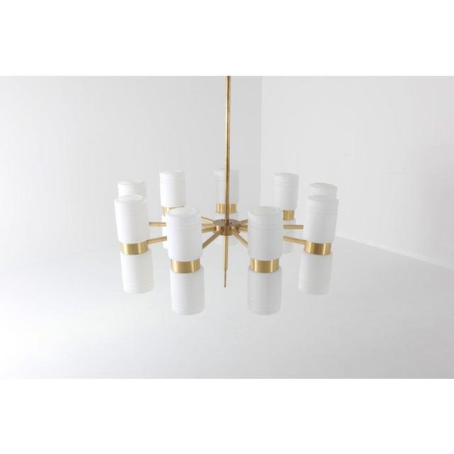Hans Agne Jakobsson Hans-Agne Jakobsson Brass and Milky Opaline Glass Chandelier For Sale - Image 4 of 10