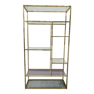 Milo Baughman Style Brass and Glass Etagere For Sale