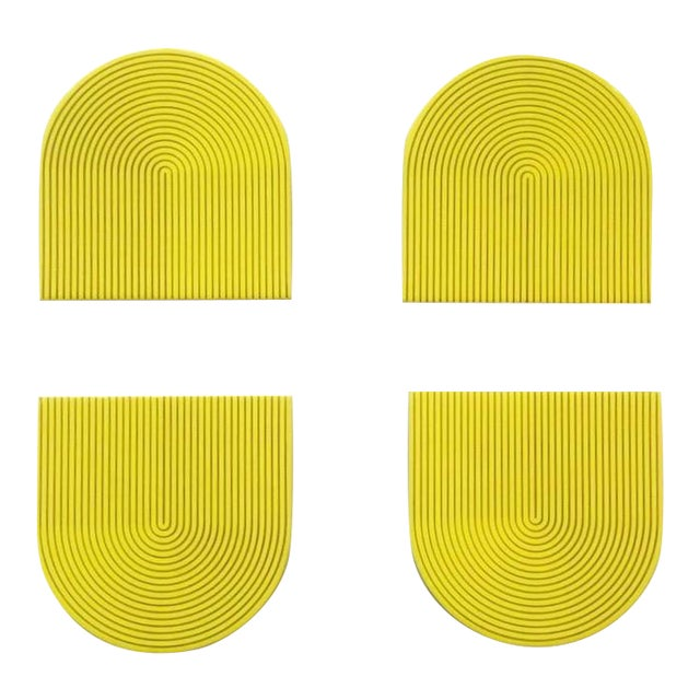 Yellow & Gray Coasters - Set of 4 For Sale