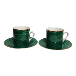 Neiman Marcus Green Malachite Cup & Saucer - 2 Pairs For Sale