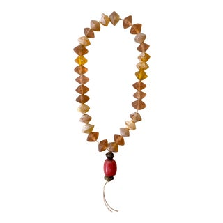 Rare 18th Century Amber Vaseline and Coral Trade Beads For Sale