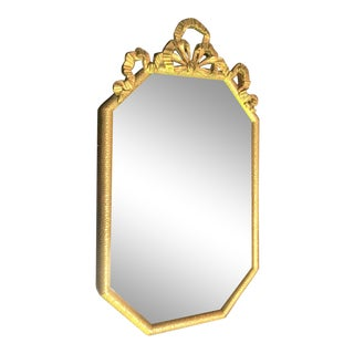 Vintage Gold Toned Mirror With Velvet Backing For Sale