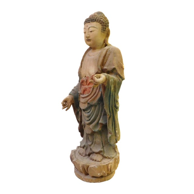 Chinese Rustic Wood Standing Buddha Statue - Image 7 of 8