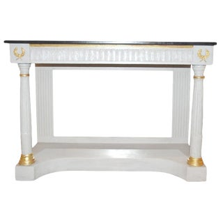 20th Century Neoclassical Console Table With Black Stone Top For Sale