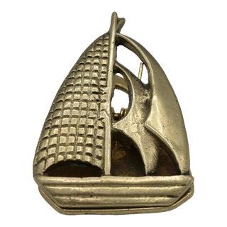 Art Deco Brass Sailing Ship Clip / Letter Holder For Sale