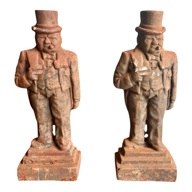 Antique Winston Churchill Cast Iron Andirons - A Pair - Image 1 of 10