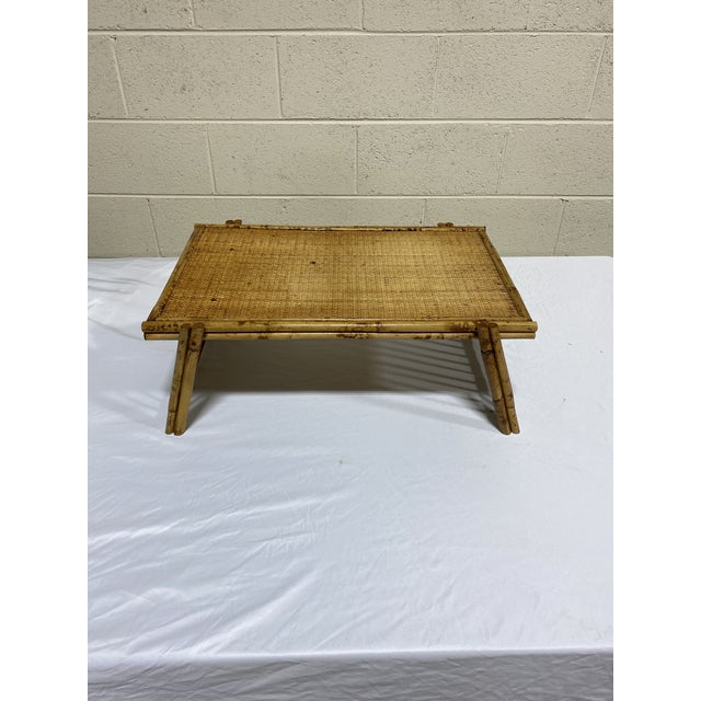 """Vintage Burnt Bamboo """"Breakfast"""" Tray Stand For Sale In Richmond - Image 6 of 12"""