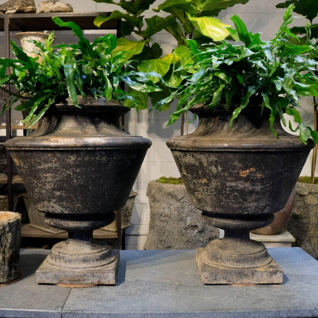 Metal French Antique Cast Iron Urns, Circa 1870 - a Pair For Sale - Image 7 of 8