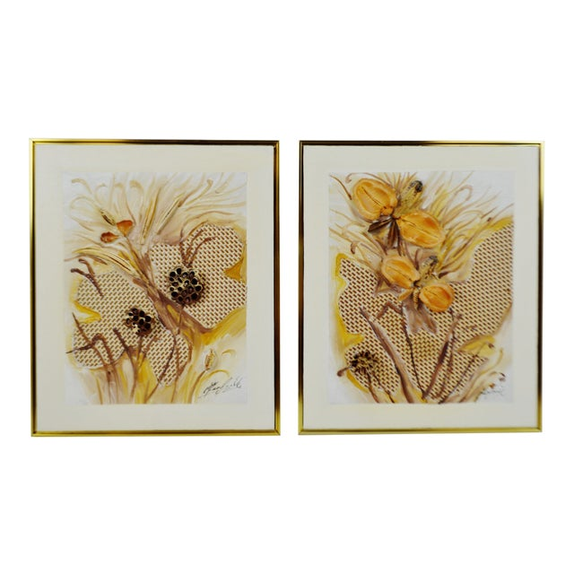 Vintage Artist Signed Framed Mixed Media Organic 3d Oil Painting- a Pair For Sale