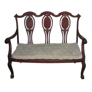 Victorian Mahogany Three People Waiting Bench