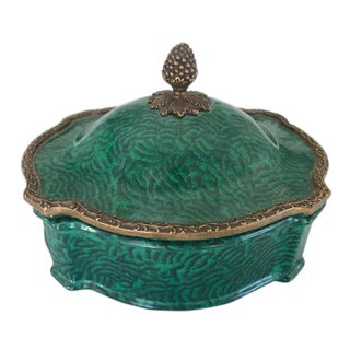 Green Box With Lid and Brass Top For Sale