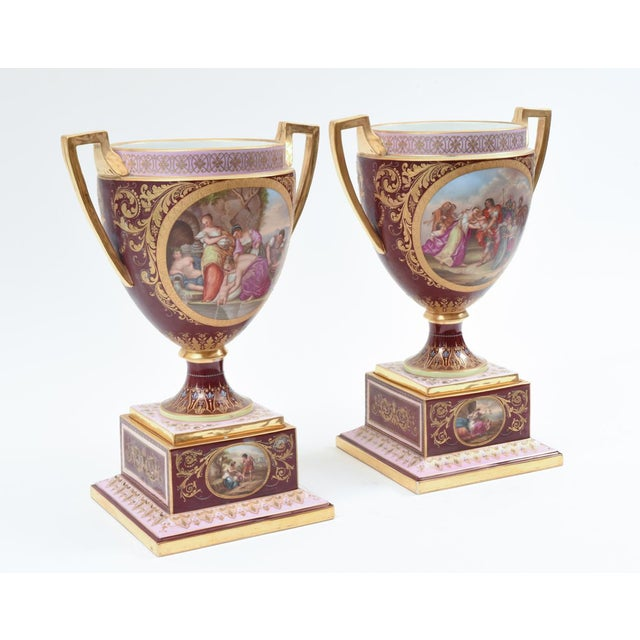 Hollywood Regency Antique Royal Vienna Porcelain Decorative Urns - a Pair For Sale - Image 3 of 13