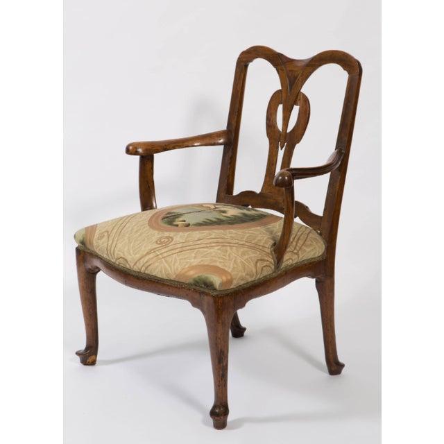 Italian 18th Century Vintage Walnut Italian Open Back Armchair For Sale - Image 3 of 13
