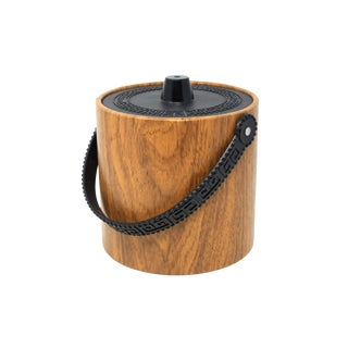 Vintage Wood Grain and Greek Key Ice Bucket by Phoenixware For Sale